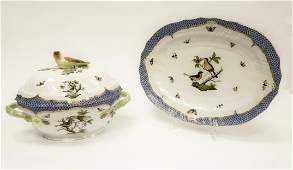 Herend Rothschild Bird Blue Tureen & Platter.