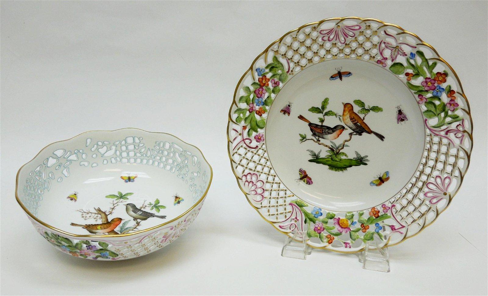 Herend Rothschild Bird Open Work  Fruit Bowl & Plate.