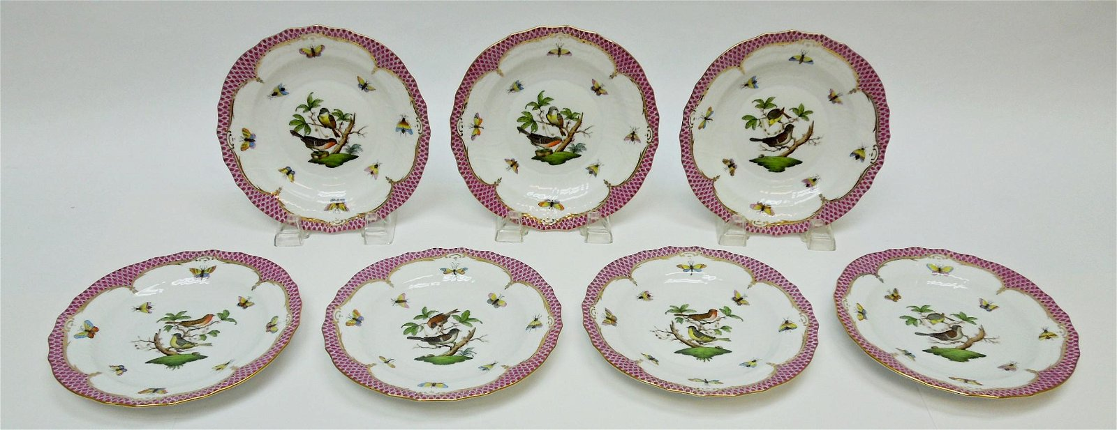 (7) Herend Rothschild Bird Pink Salad Plates.