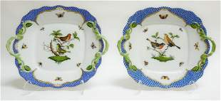 (2) Herend Rothschild Bird Blue Square Cake Plates.