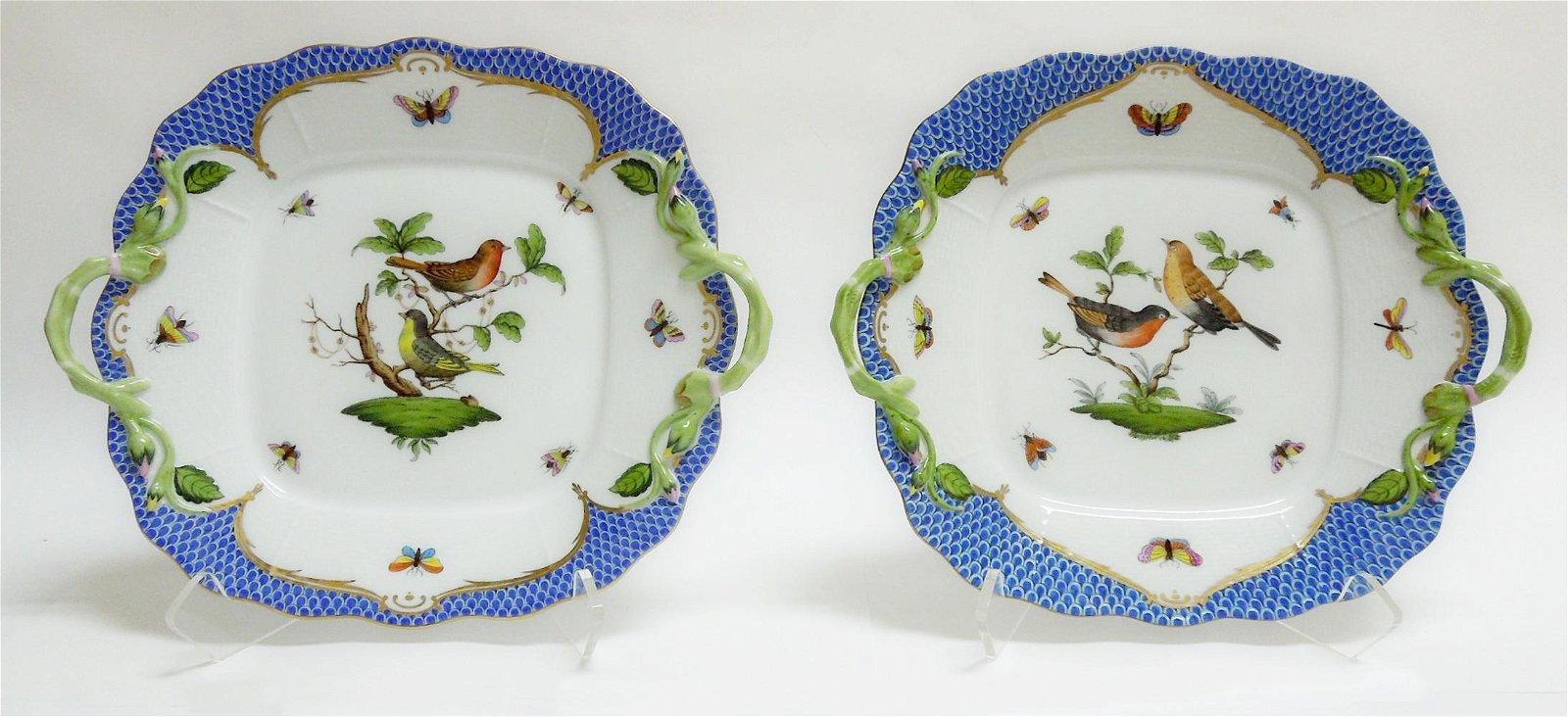 (2) Herend Rothschild Bird Blue Square Cake Plates.