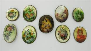 Group of (9) Russian Lacquer Brooches.