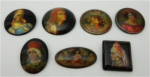 Group of (7) Russian Lacquer Brooches.