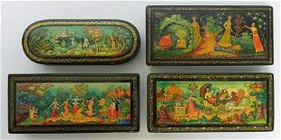 (4) Mstera Russian Lacquer Boxes.