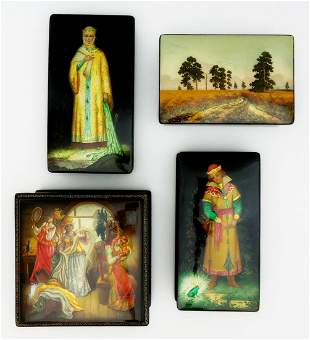 (4) Fedoskino Russian Lacquer Boxes.