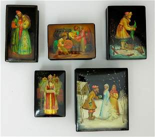 (5) Fedoskino Russian Lacquer Boxes.