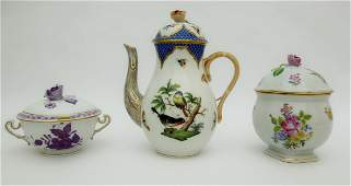 Herend Coffee Pot, Soup Cup with Lid & Candy Bowl with