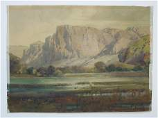 Percy Gray Watercolor, Western Buttes.