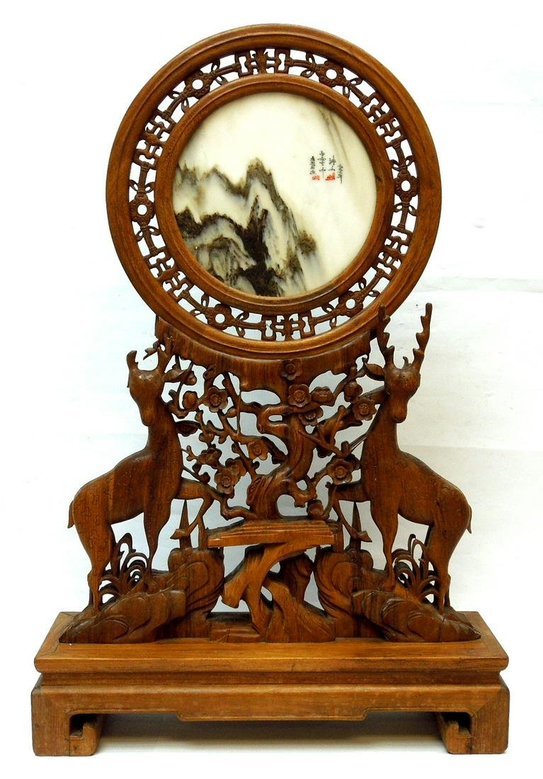 Chinese Porcelain Plaque on a Carved Wood Stand.