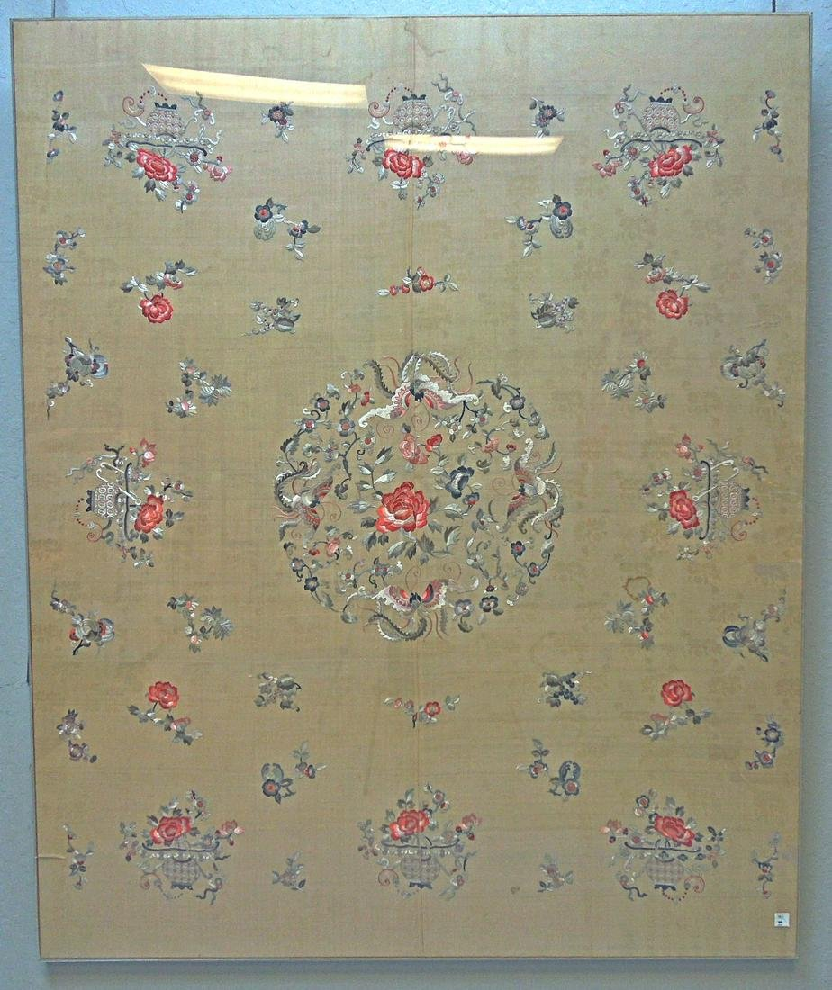 Large Silk Embroidered Panel, Late Qing Dynasty.