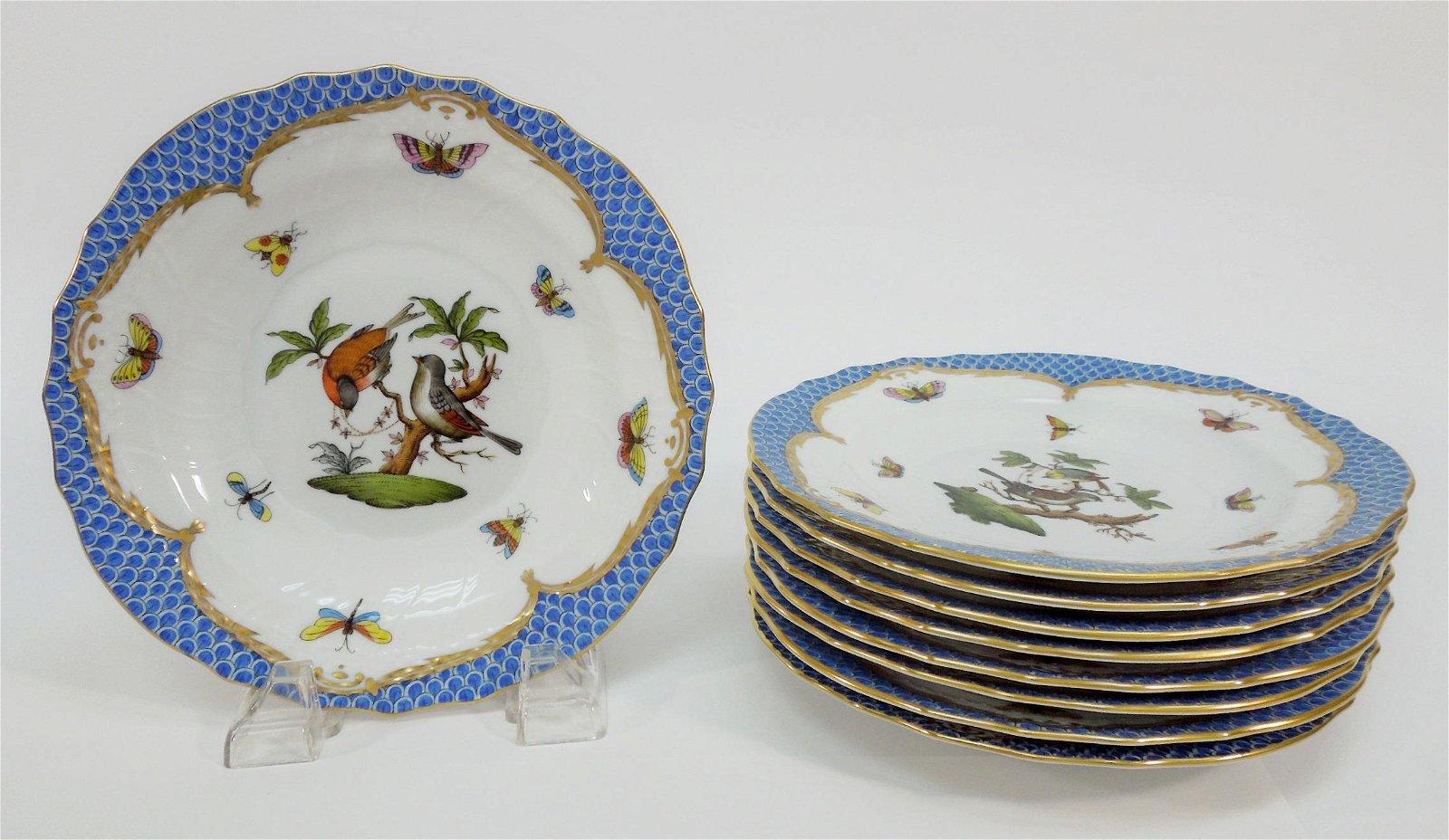 (9) Herend Rothschild Bird Blue Salad Plates.