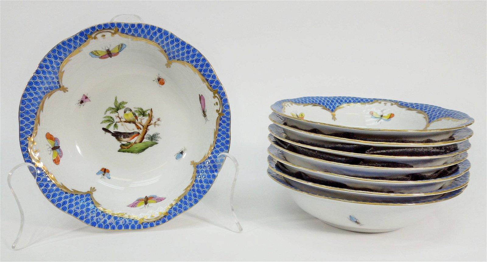 (8) Herend Rothschild Bird Blue Oatmeal Bowls.