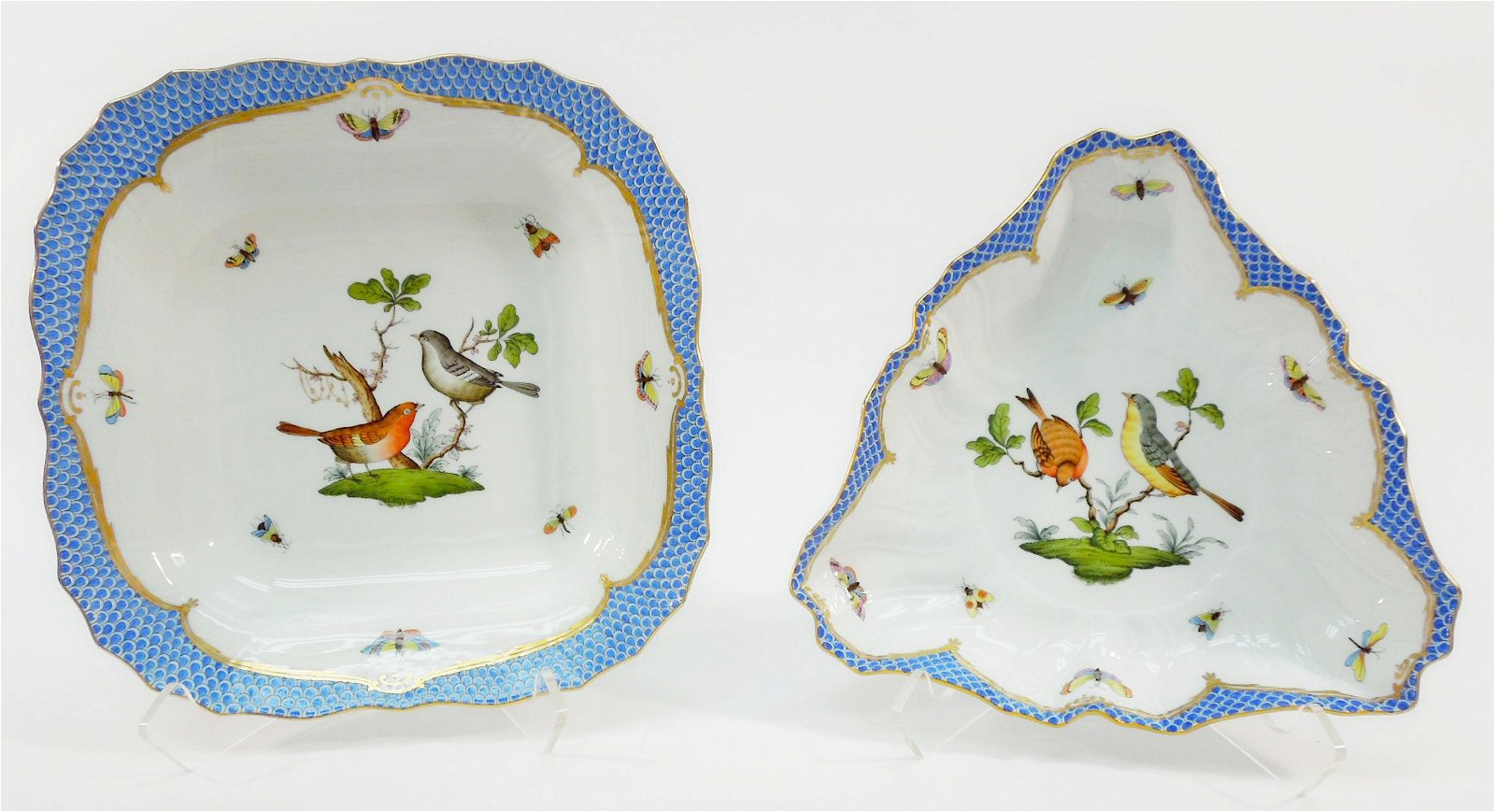 Herend Rothschild Bird Blue Square & Triangle Dishes.