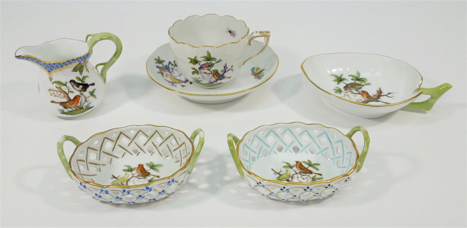 Group of (6) Herend Rothschild Bird Tableware Items.
