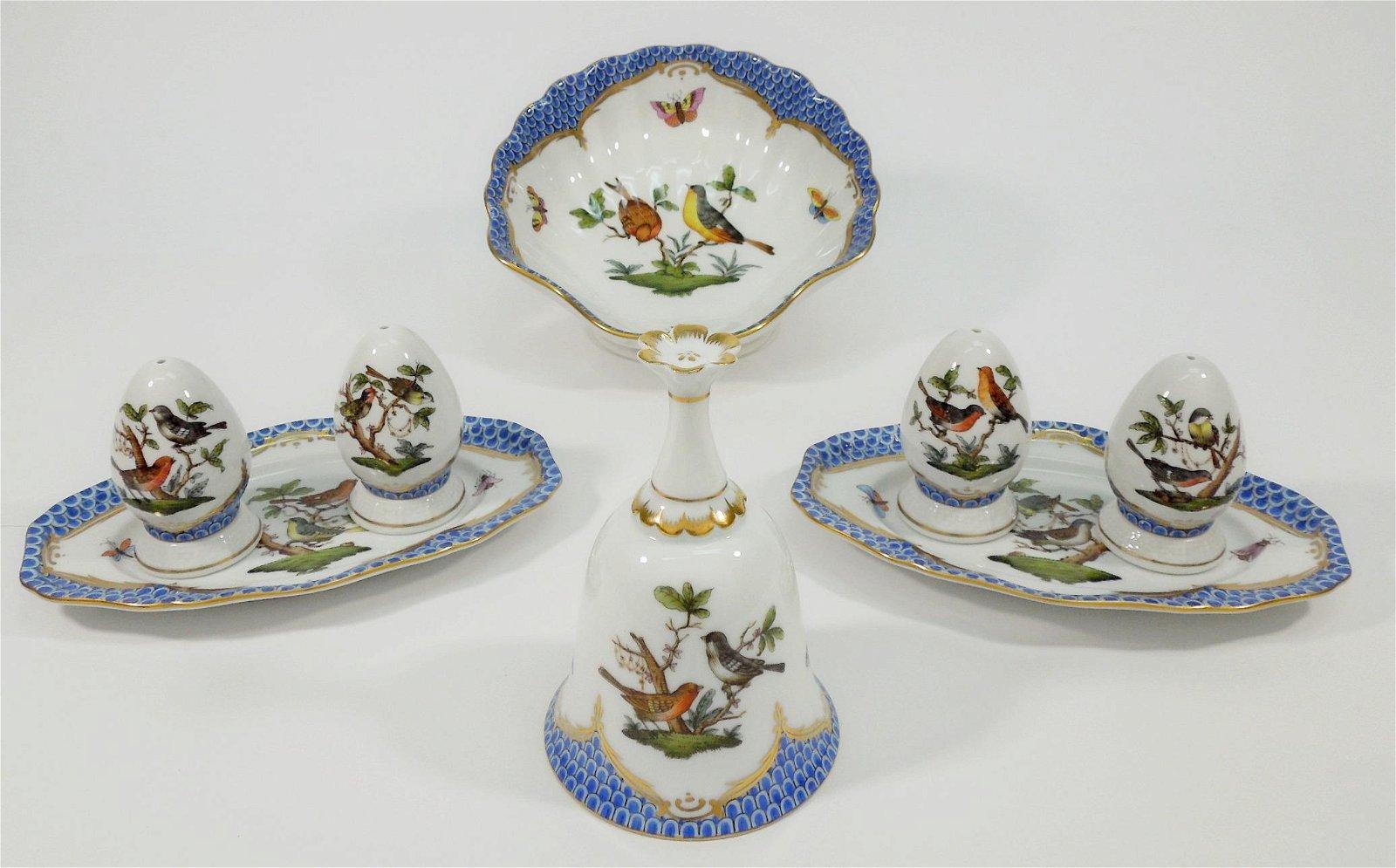 Group of Herend Rothschild Bird Tableware Items.