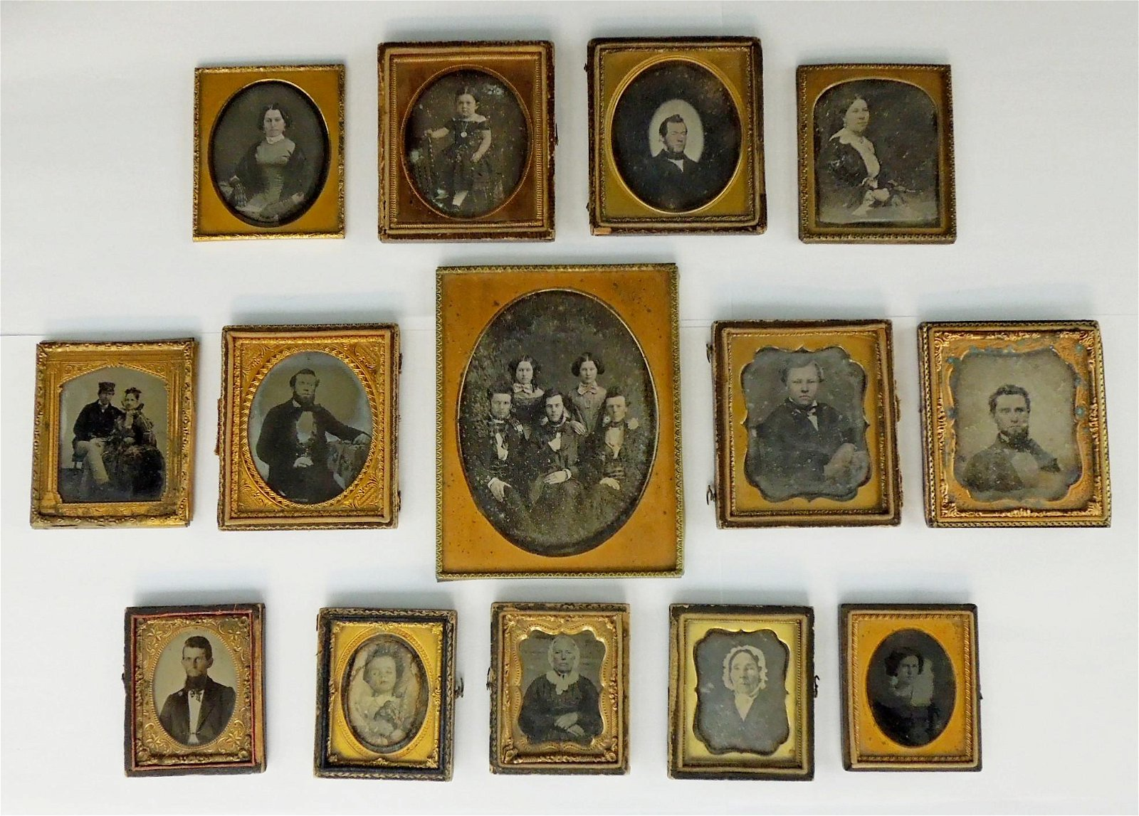Group of (14) Tin Types, Circa 1860.
