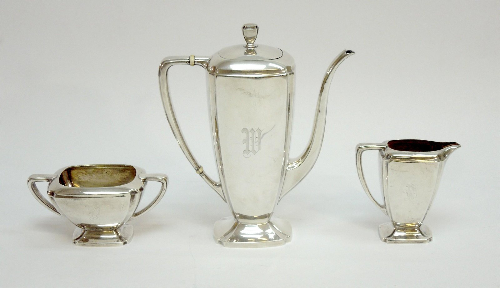 Whiting Sterling Silver 3-pc Tea Set.