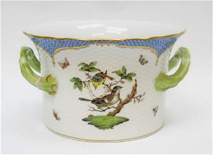 Herend Rothschild Bird Blue Cache Pot.