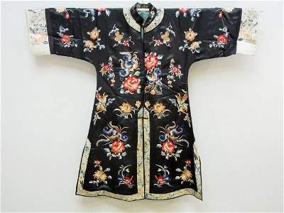 Chinese Embroidered Silk Jacket. (Black).