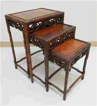 (3) Chinese Bamboo Nested Tables.
