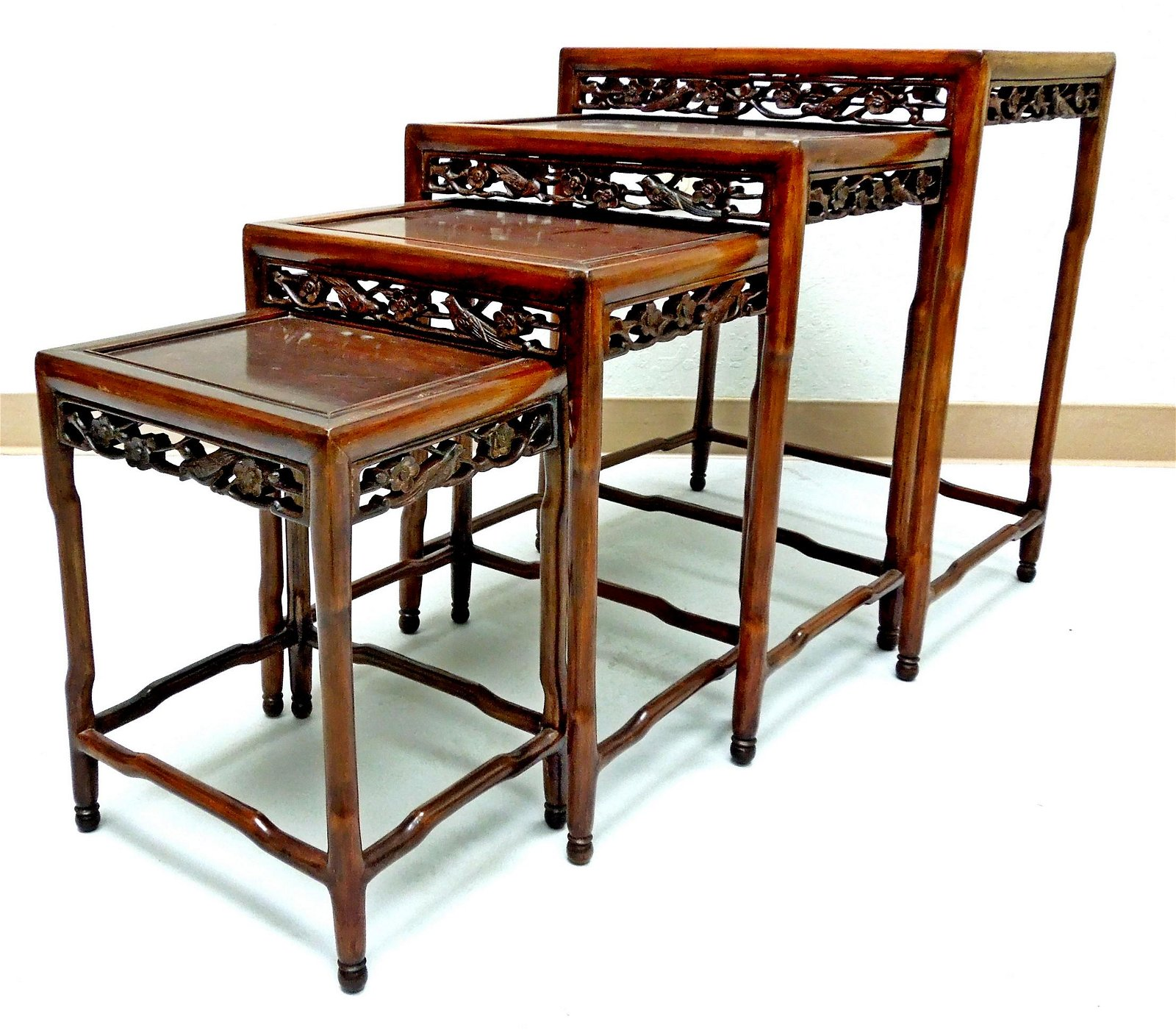 Set of (4) Chinese Rosewood Nested Tables.