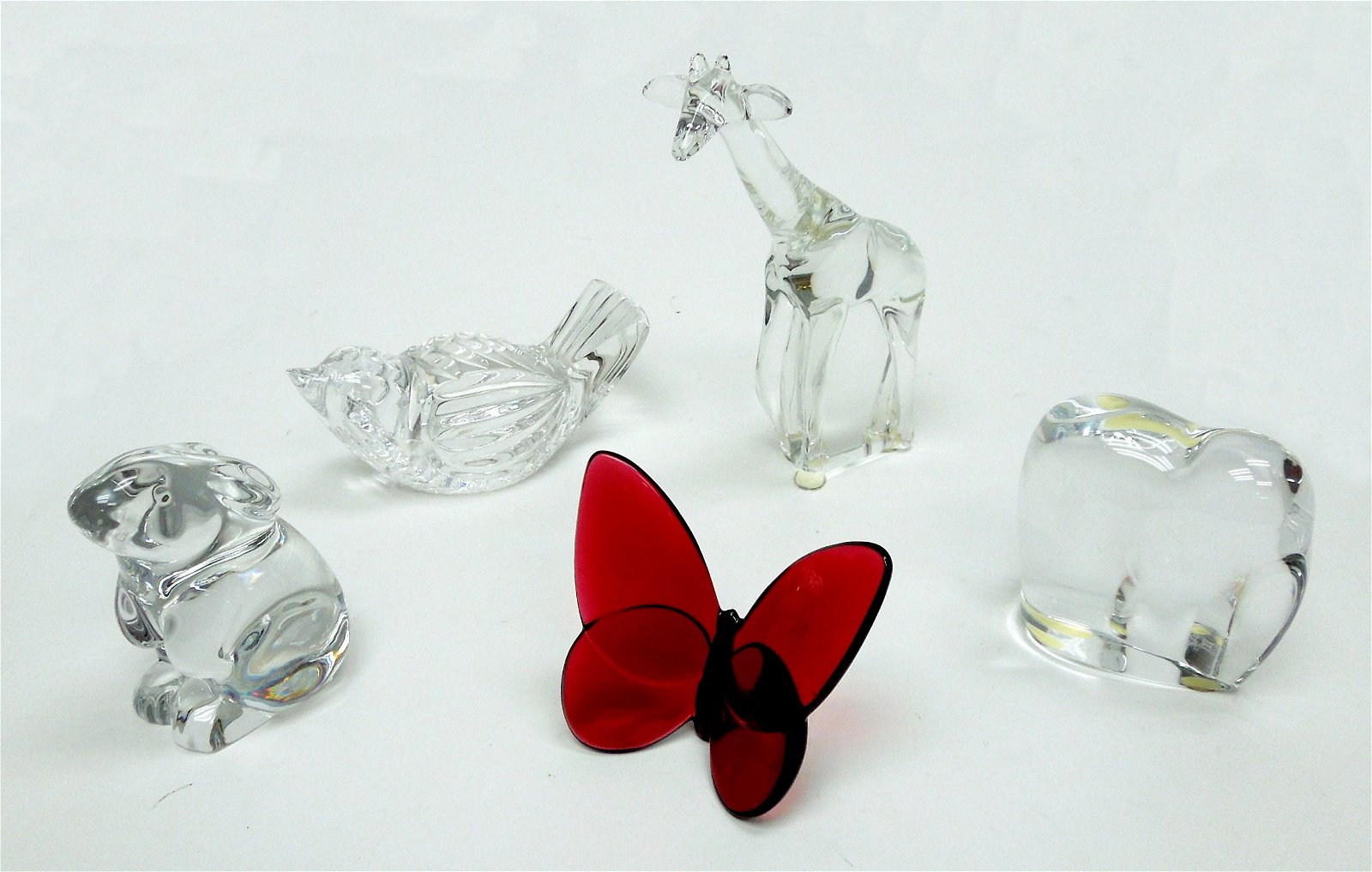 Group of (5) Baccarat & Waterford Animal figures.