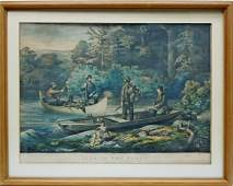 Currier  Ives Lithograph Returning to Camp