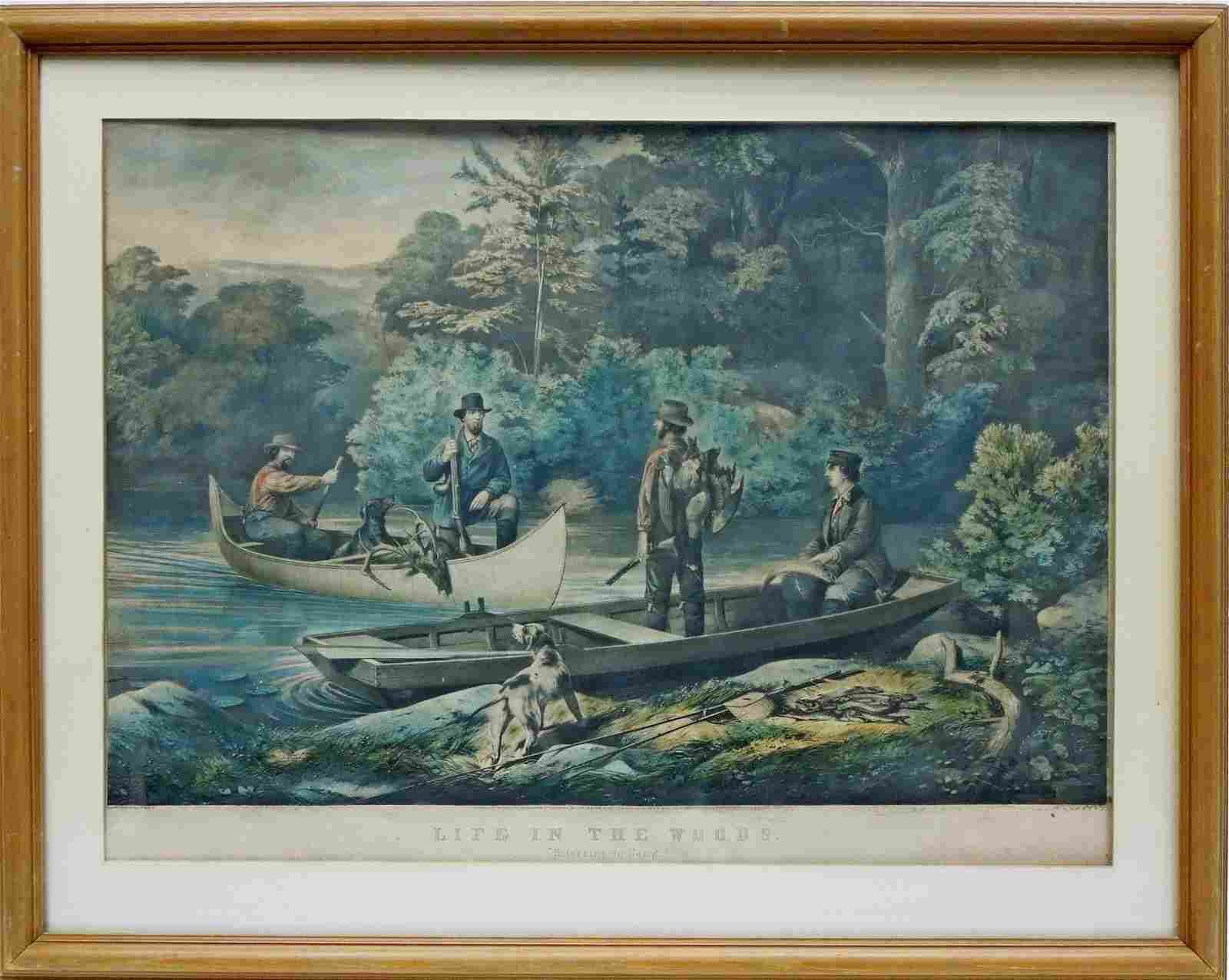Currier & Ives Lithograph, Returning to Camp.