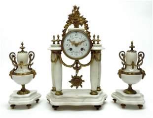 Circa 1900 Marble 3-Piece Clock Garniture Set.