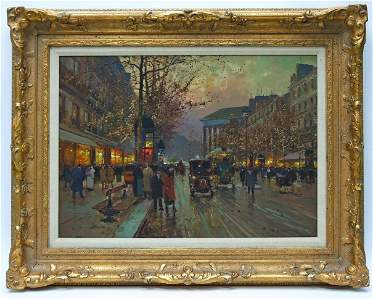 Edouard Leon Cortes  Oil on Canvas, Parisian Street