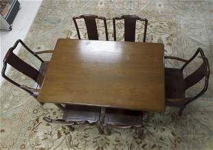 Danish Draw Leaf Table with 6 Oriental Style Chairs