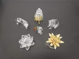 6 Swarovski Crystal Figures