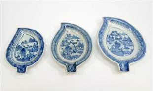 Canton Blue White Porcelain 3pc Leaf Dish set