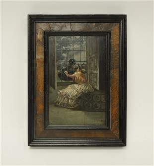 Continental Oil on Board Girl Soldier by the Window