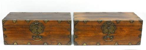 Pair of Asian Wooden Chests.