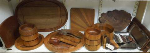 Group of Modernist Wooden Tableware