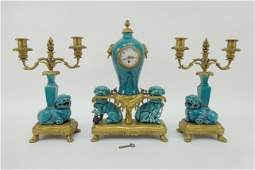 3-Piece Chinoiserie Gilt Bronze and Porcelain Garniture