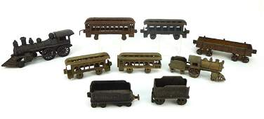 Group of Vintage Cast Iron Trains and Cars.