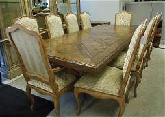 Contemporary Custom Top Dining Table with 10 Chairs.
