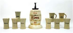 Vintage Hires Root Beer Syrup Dispenser & 9 Mugs.