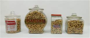 (4) Vintage Planters Peanuts Store Glass Canisters.