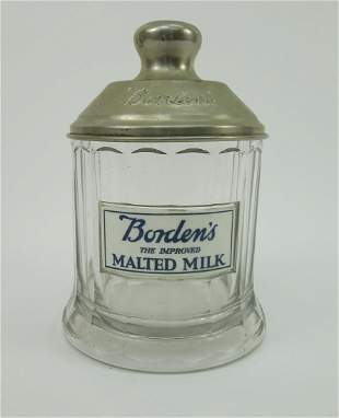Borden's Malted Milk Canister with Embossed Metal Lid.