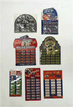 Group of Vintage Store Razor Blade Displays with