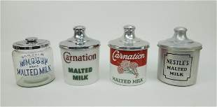 (4) Vintage Malted Milk Store Display Canisters.