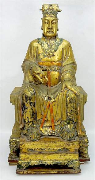 Oriental Gilt Painted Wood Seated Buddhist Figure.