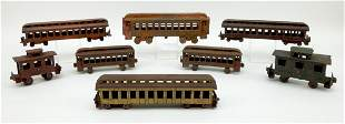 (8) Antique Cast Iron Toy Train Carriages.
