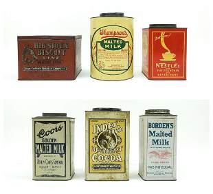 (6) Vintage Advertising Tins / Canisters.
