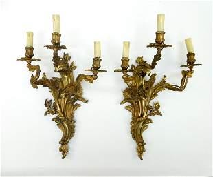 Pair Louis XVI Style Gilt Bronze Bras de Lumiere.