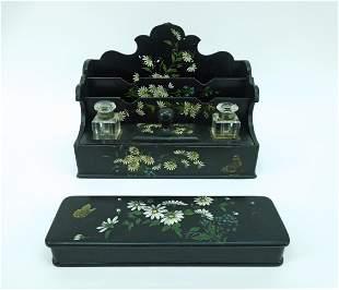 Japonesque Lacquer Desk Set.