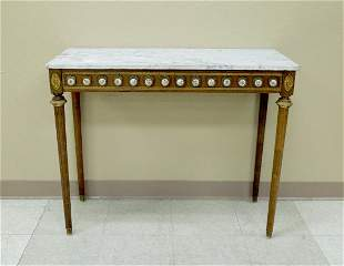 Louis XVI Style Marble Top Console Table.